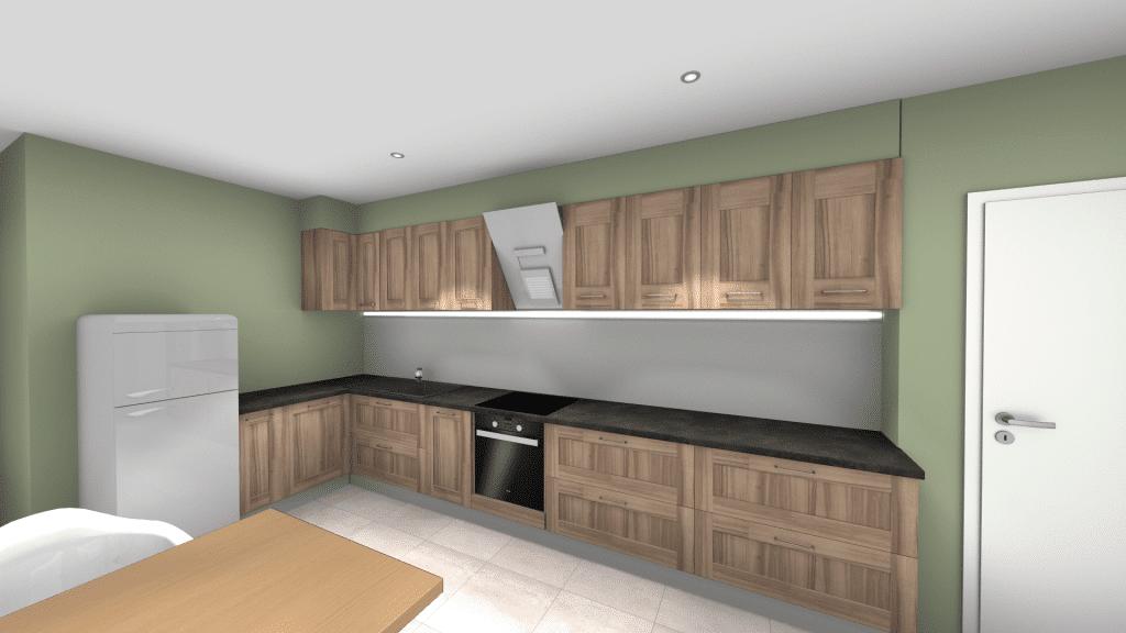 Image vue 3D cuisine moderne