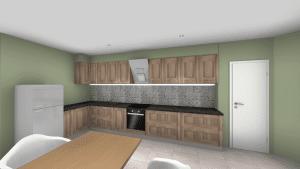 Vue 3D d'une cuisine aménagée moderne