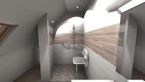 Image 3D d'une douche pmr