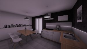 Vue d'une cuisine dessinée en 3D