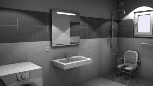 Salle de bains équipée pour personne à mobilité réduite
