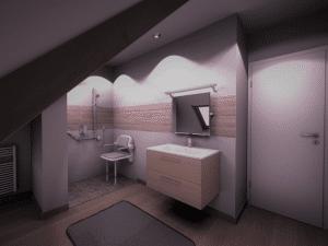 Image 3D de salle de bains PMR