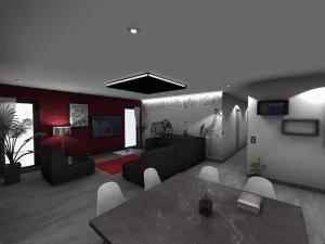 Image 3D d'un salon-salle à manger