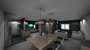 Vue 3D d'un intérieur de maison