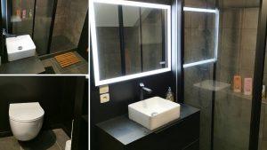 Salle de bains avec docuhe à l'italienne WC suspendu et lavabo design
