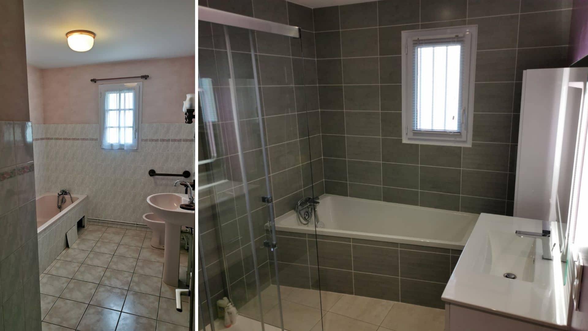 salle de bains avant et après rénovation