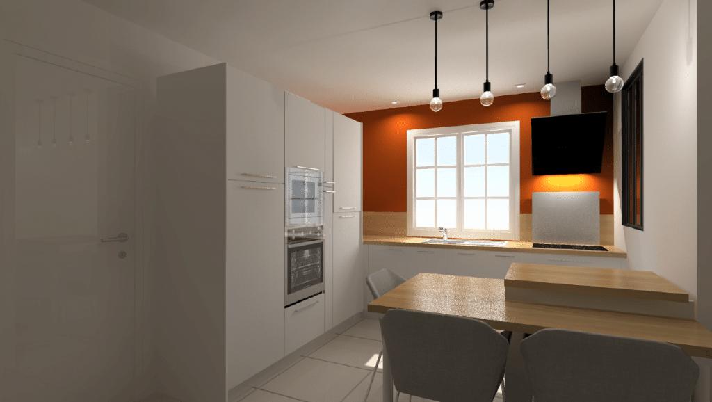 Vue 3D d'une cuisine design modèle Kali blanche
