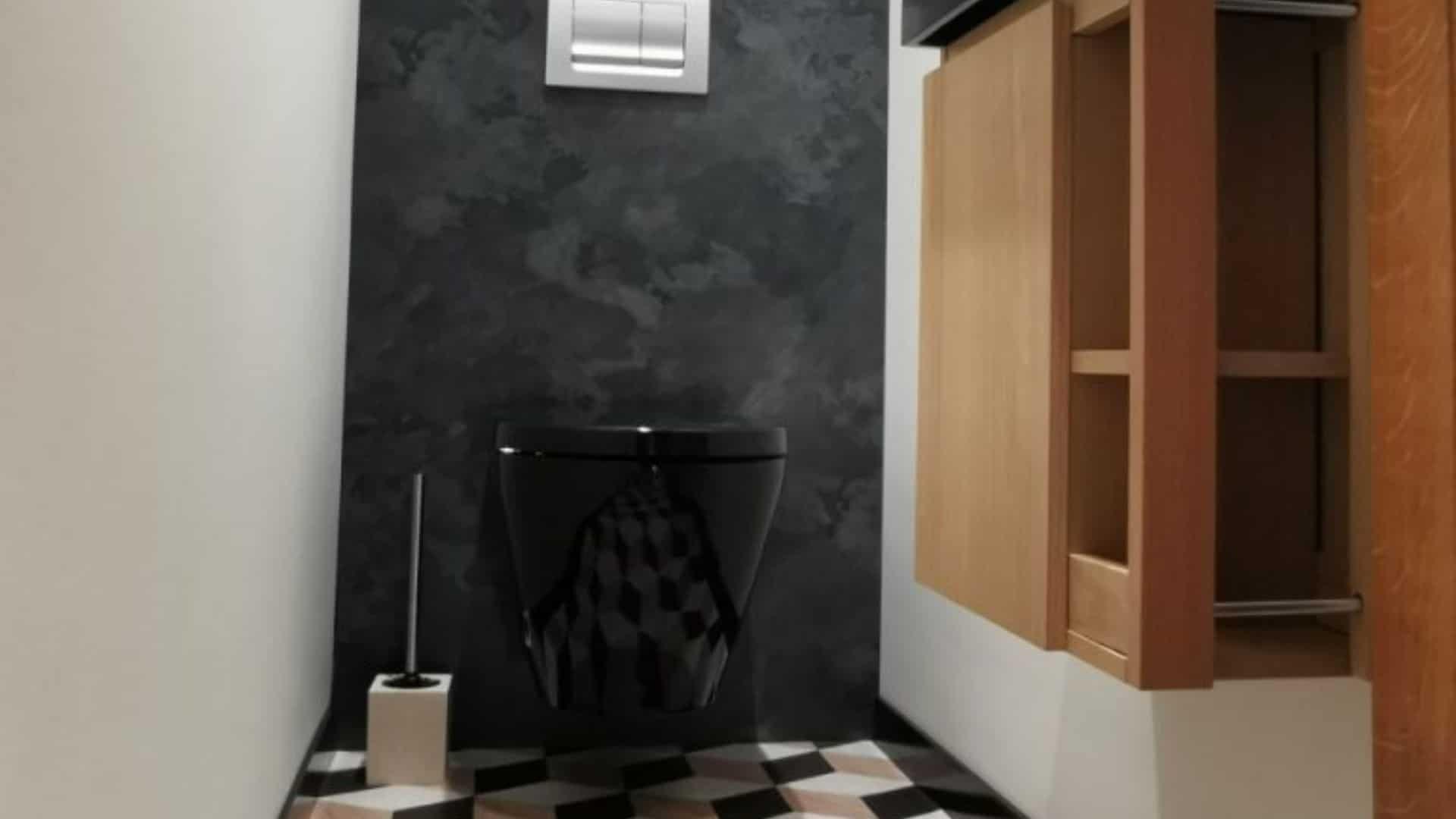 WC suspendu design avec cuvette noire